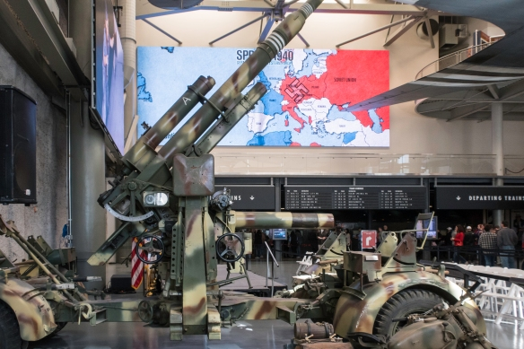 An anti-aircraft gun from World War II in the lobby of the The National World War II Museum, New Orleans, Louisiana