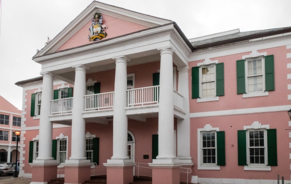 Dating from 1790, the early British local government legislature met in this building on Bay Street, the site of the main viewing stands for seating at the end of December for watching t