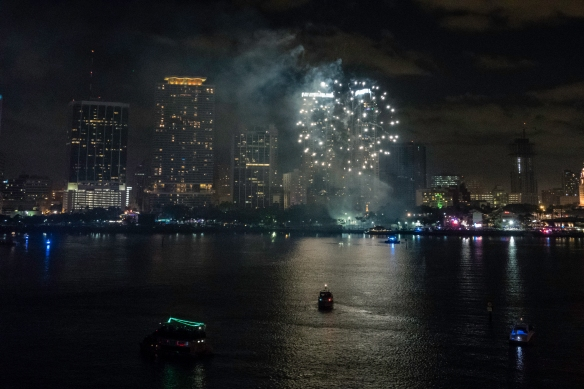 More fireworks, welcoming the year 2018, Miami, Florida, USA