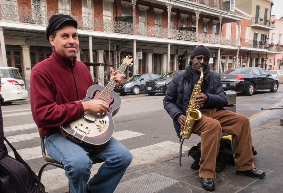 New Orleans, Louisiana, French Quarter Image #9 – local jazz musicians playing mid-day on the sidewalk