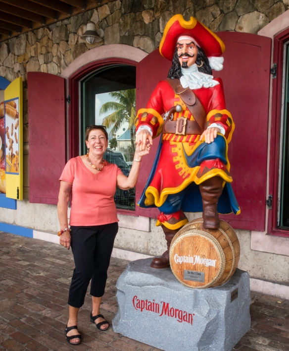 Once ashore, the intrepid explorer lost no time in making friends with Captain Morgan, creator of his eponymous rum, Nassau, Bahamas
