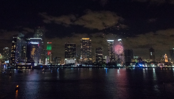"The beginning of the fireworks, north of the InterContinental Miami Hotel, just after the midnight countdown when the ""Big Orange"" (ball) celebrated 25 years of rising to the top of"