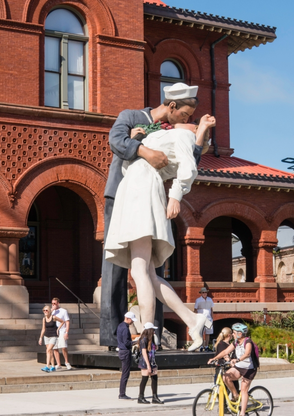 The much larger-than-life sculpture in front of the Key West Museum of Art and History at the Custom House represents the U.S. Navy sailor grabbing and kissing a stranger in New York Cit