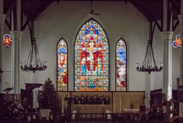 The stained glass windows were installed with a Church restoration in 1866 at the Christ Church Cathedral (the Anglican-Episcopal Church on George Street in Nassau, Bahamas); the Vestry