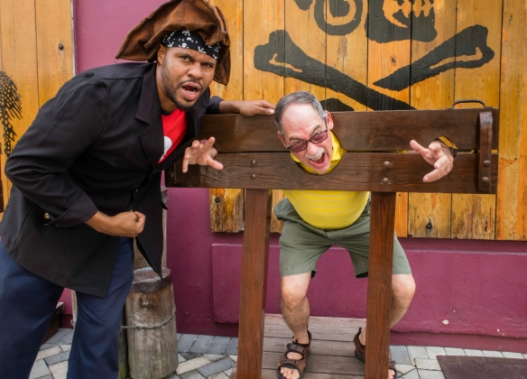 Your blogger was caught by a local pirate and put into the stocks – fortunately, for you, gentle readers, he was rescued by the intrepid explorer who had been duly fortified upon arriv