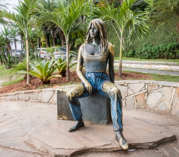 A bronze statue of Brigitte Bardot who frequently vacationed in Búzios, Brazil, and helped popularize the peninsula and its beaches to vacationers