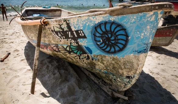 A local fishing boat, Copacabana Beach, Rio de Janeiro, Brazil