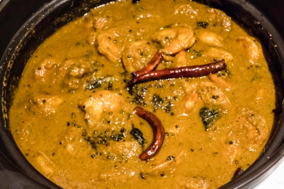 A main course of Chettinad Prawn Massala (from Chennai, India), prawn, spice, curry leaf, and coconut; Indian Dinner for Friends, on board our ship mid-Atlantic Ocean