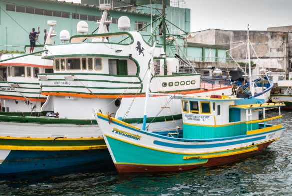 A portion of the commercial fishing fleet in the river at Cabo Frio, Brazil