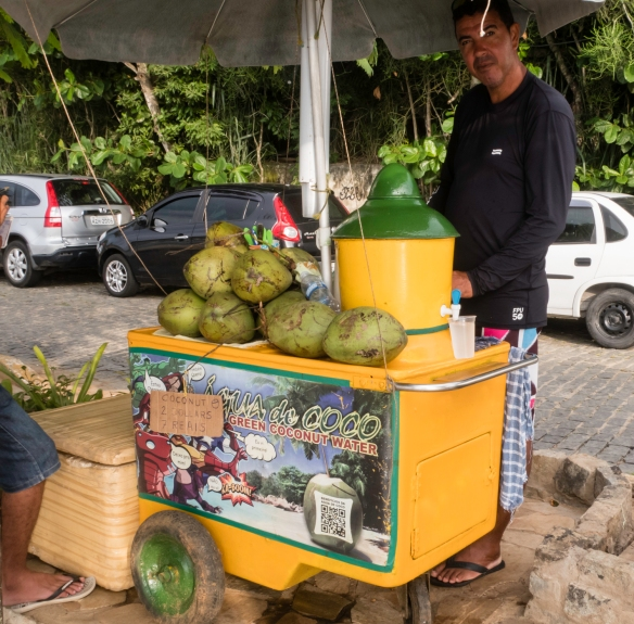 A street vendor selling fresh green coconut water, Búzios, Brazil