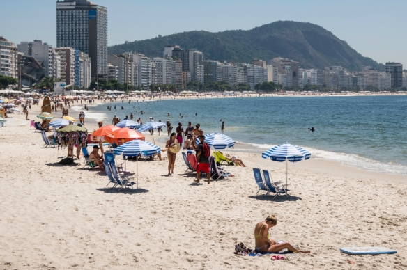 A view of Copacabana Beach, Rio de Janeiro, Brazil, from its southern terminus, looking north (Ipanema Beach is behind us, to the south, around the corner)