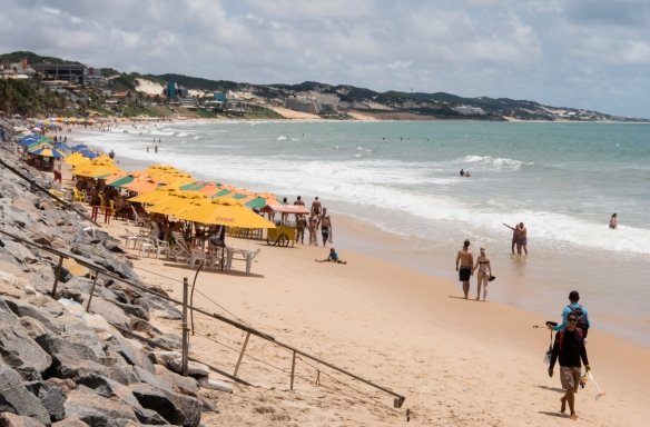 Busy during the week (pictured), Praia de Ponta Negra (Ponta Negra Beach) becomes even more crowded on the weekends, Natal, Brazil