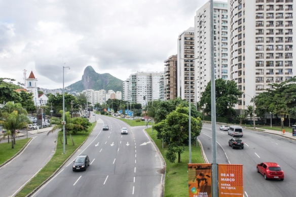 Condominiums line the beachfront in this view to the north of São Conrado, Brazil