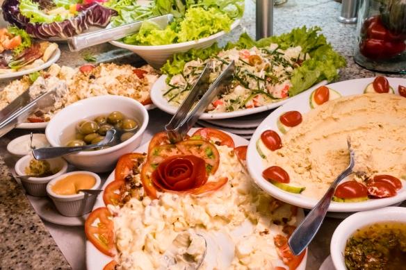 Dips and salads, Oasis restaurant, São Conrado, Brazil