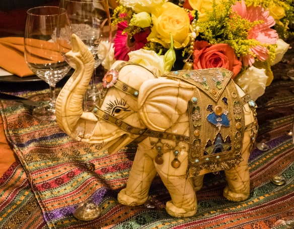 Elephants were the highlight of the décor in our apartment on the ship for an Indian dinner for friends, on board our ship mid-Atlantic Ocean