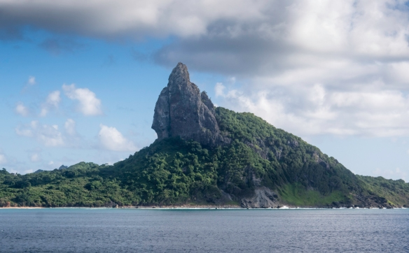 From a distance, the main island of the Fernando de Noronha archipelago, about 354 kilometers (220 miles) off Brazil's northeast coast Brazil, is recognizable by its largest volcanic pea