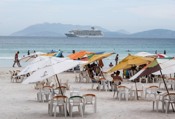 Our ship was anchored off Praia do Forte (the Fort beach) in Cabo Frio, Brazil