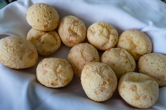 Pão de queijo (Brazilian cheese bread), served to us by Brazilian-born, London-based artist Lella Castello Branco in her home in São Conrado, Brazil