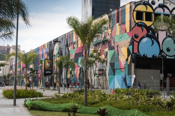 "Rio de Janeiro, Brazil, street art- a view of ""Etnias"" from Terminal 4 at Pier Mauâ (where our ship was docked)"
