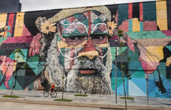 "Rio de Janeiro, Brazil, street art- one of the portraits in ""Etnias"" by Brazilian graffiti artist Eduardo Kobra"