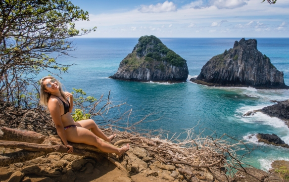 "The ""two brothers"" and one ""sister"" (the girlfriend of a touring photographer), Fernando de Noronha, Brazil"