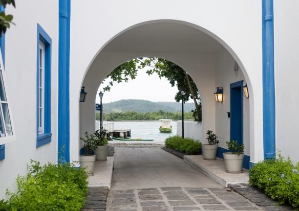 The entrance to the colonial-era buildings that have been restored and converted into Hotel Solar do Arco in Barrio Passagem, Cabo Frio, Brazil