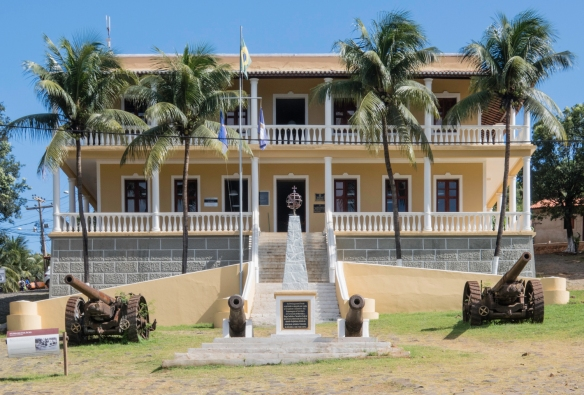 The parade ground (with canons) in front of the colonial administration building, Vila dos Remédios, Fernando de Noronha, Brazil