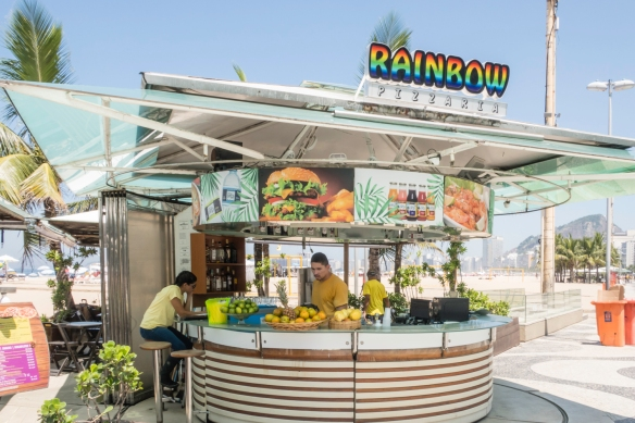 The promenade is dotted with drink and food stands for refreshments, Copacabana Beach, Rio de Janeiro, Brazil