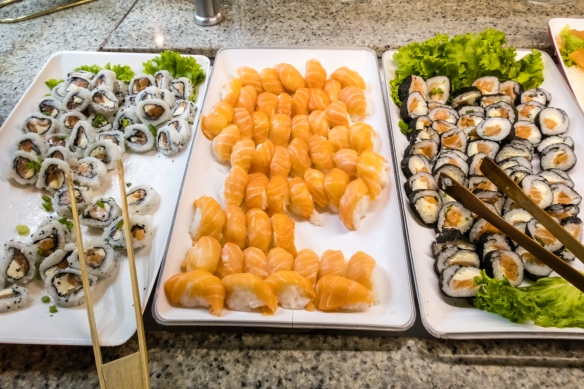 The salad bar featured many foods for non-meat eaters, including this section of sushi and (not pictured) hot stations with sautéed fish, fried calamari and a shrimp sauté, Oasis res