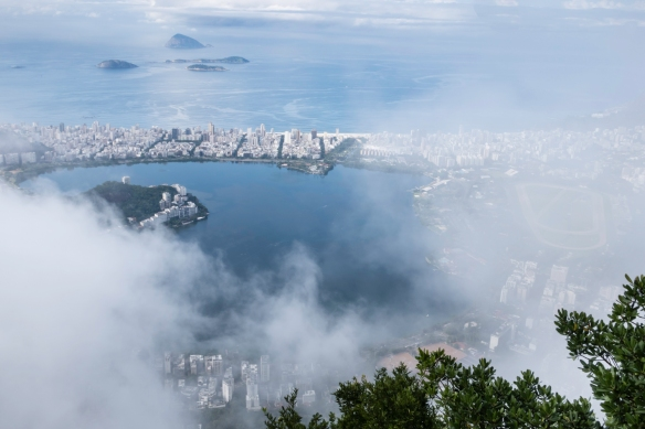 While we were at the platform adjacent to the base of Christ the Redeemer at the top of Mount Corcovado, Rio de Janeiro, Brazil, the fog had momentary moments of clearing to the east whe