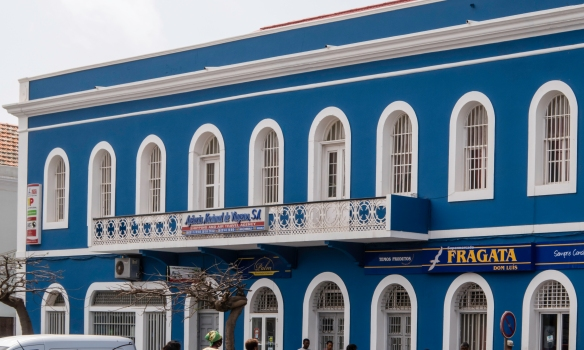 A beautifully restored, colonial period-designed building in downtown Mindelo, São Vicente, Cape Verde (Cabo Verde), near the Torre de Belém and fish market