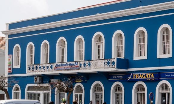 A beautifully restored, colonial period-designed building in downtown Mindelo, São Vicente, Cape Verde (Cabo Verde), near the Torre de Belém and fish market