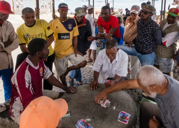 A card game being played by locals just outside the city_s fish market, Mindelo, São Vicente, Cape Verde (Cabo Verde)