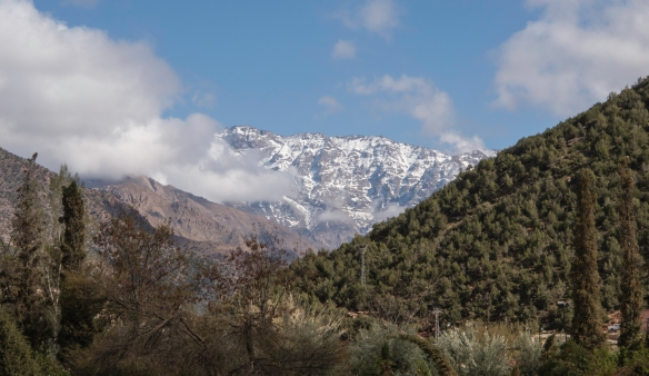 A close up of the snow-covered High Atlas Mounts south of Kasbah Tamadot, Asni, High Atlas Mountains, Morocco