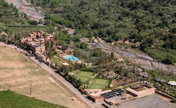 A close-up view of Sir Richard Branson_s resort, Kasbah Tamadot, as seen from uphill_