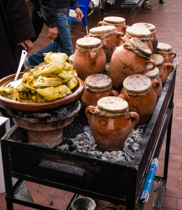 "A relative of the traditional Moroccan clay cooking ""pot"", the tajine, this was the only vendor I saw in Jemaa el-Fnaa square with the smaller tanjia, shaped like an urn, which is co"