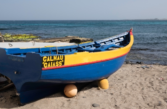 A small fishing boat which used to be the mainstay of the island_s fishing industry until the Chinese and Spanish began fishing the surrounding Atlantic Ocean with giant, industrial fi