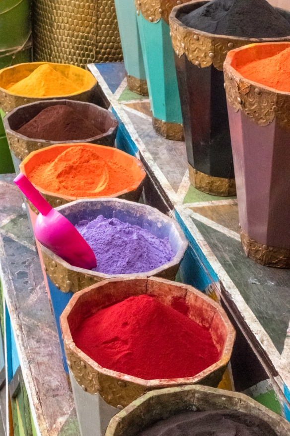 A small shop selling brilliant colors of paint pigments in Hayel Mella (the old walled Jewish quarter), Marrakech, Morocco