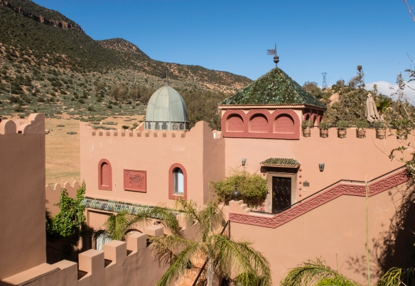 A view of Kasbah Tamadot near Asni, set in the High Atlas Mountains, Morocco