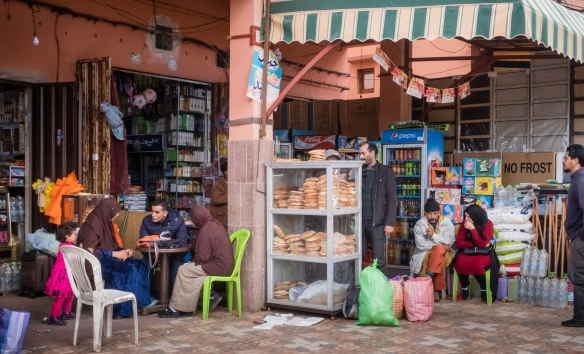 Across the road from the weekly Berber market in Asni are a number of permanent small shops, mostly selling the same staples (fresh bread rounds, bottled water, soft drinks, sun tan loti