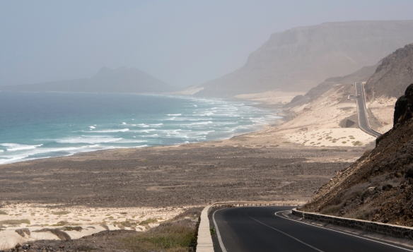 Along the coastal road there were large dunes of white sand that are not native – they were built up over the years from fine particulate white sand blown across hundreds of miles (kil