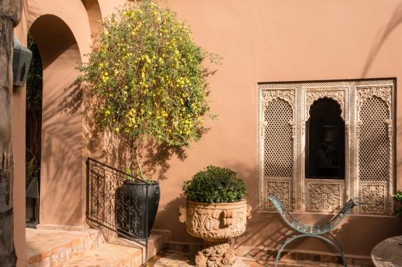 An interior courtyard at Kasbah Tamadot, Asni, High Atlas Mountains, Morocco