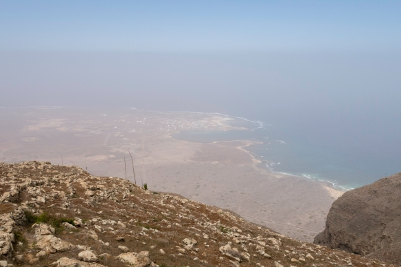 As we descended a little from the summit of Monte Verde (Green Mountain), we were finally able to glimpse the Atlantic Ocean and the island_s coastline; São Vicente, Cape Verde (Cabo