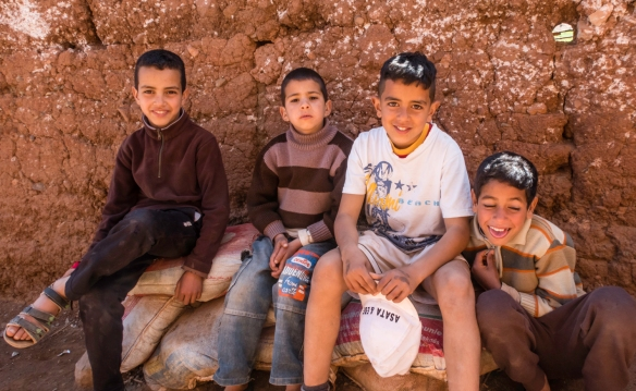 As we entered the Berber village we were greeted by four young local boys, Asni, High Atlas Mountains, Morocco