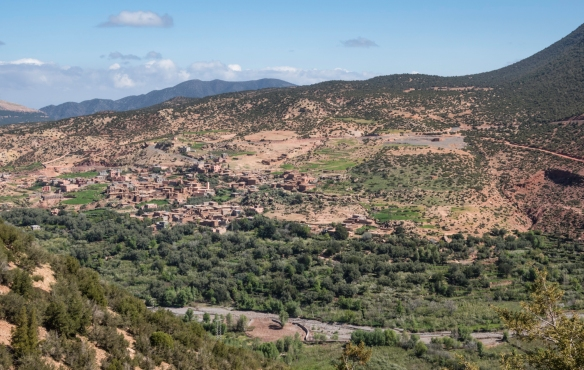 As we started our uphill hike in Toubkal National Park from near our resort, Kasbah Tamadot, we looked back at one of the nearby Berber villages that are districts of Asni, High Atlas Mo