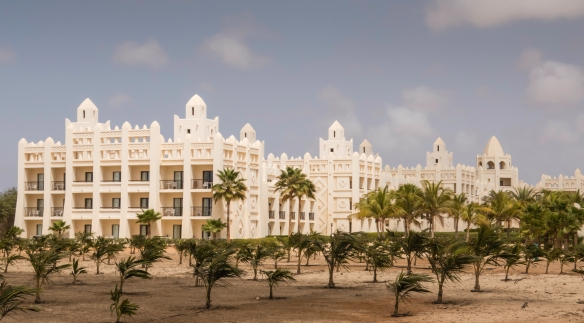 Boa Vista, Cape Verde, has had major development as a tourist mecca over the past decade, including this Arabian-style hotel – the Karamboa Hotel -- stretched all along the western bea