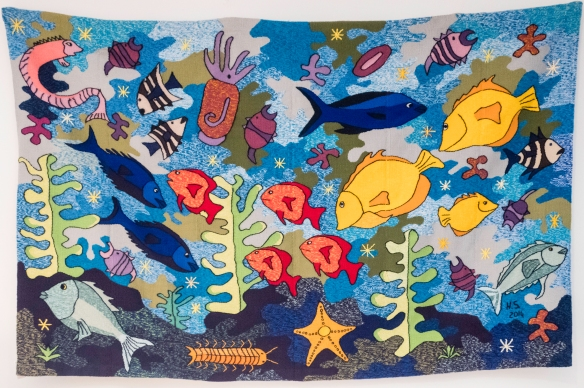 Cap Vert Design store, Mindelo, São Vicente, Cape Verde (Cabo Verde) – a very brightly woven sea-life wall hanging