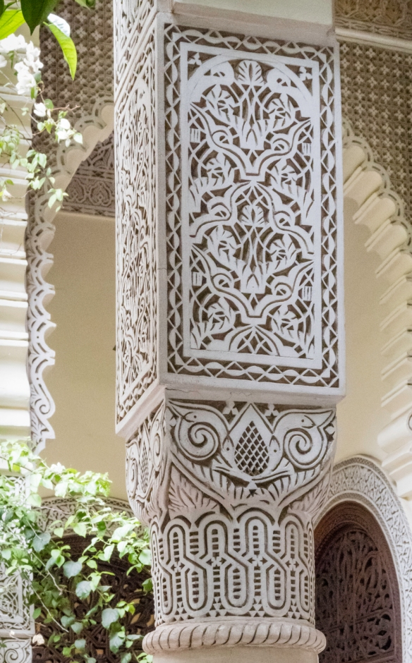 Details of one of the columns in the main patio-courtyard, Villa des Orangers, Marrakech, Morocco