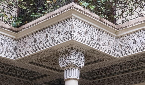 Details of the columns and ceiling of the second patio-courtyard, Villa des Orangers, Marrakech, Morocco