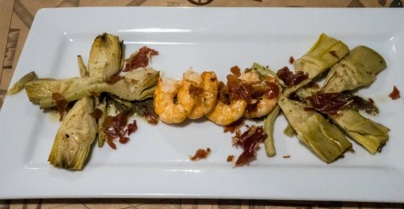 """Artichoke Flowers"" (artichoke hearts) and Gambas (prawn) – the tastiest of all the dishes we had at Las 6 Calabazas (tapas), Las Palmas de Gran Canaria, Canary Islands"